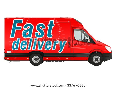Fast delivery. Red courier van on the white background. Raster illustration. - stock photo