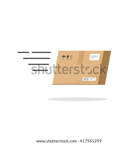 Fast delivery service illustration isolated on white background, speed delivery box flying fast logo, cartoon flat delivery package color concept image - stock photo