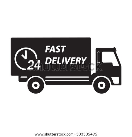 Fast delivery truck icon or sign.