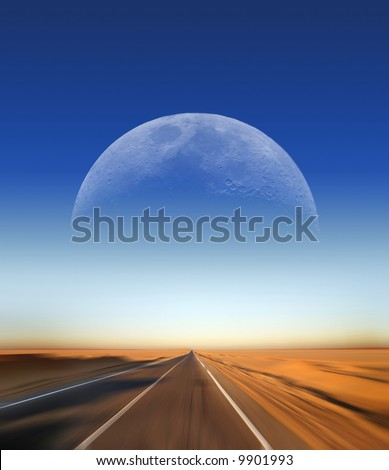 Fast Driving on Desert Highway with Moon in the background - Great for Cover page of magazine, book or similar - stock photo