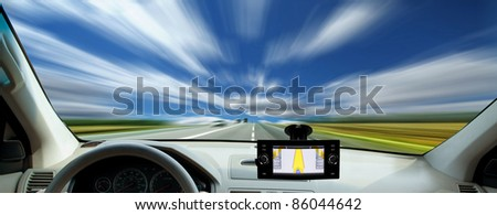 Fast driving on the freeway - stock photo