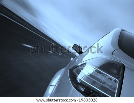 Fast driving on the highway. - stock photo