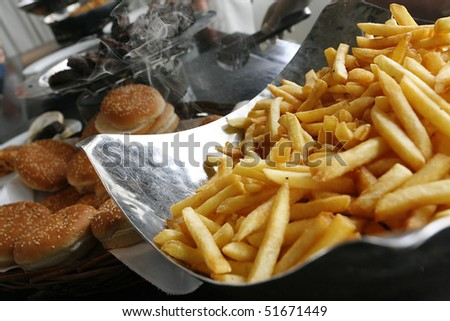 fast food burger and fries - stock photo