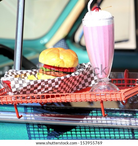 Fast food burger joint drive in diner for on the go customers. - stock photo