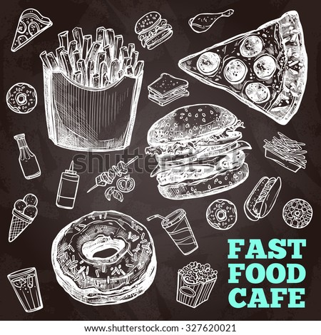Fast food chalkboard decorative icons set with sandwich hamburger and chicken isolated  illustration - stock photo