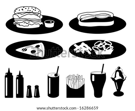 Fast Food Collection is original artwork. - stock photo