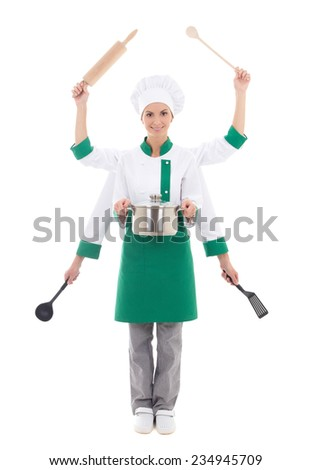 fast food concept - attractive woman in chef uniform with six hands isolated on white background - stock photo