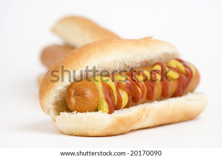 fast food, delicious hot dog isolated over white background - stock photo