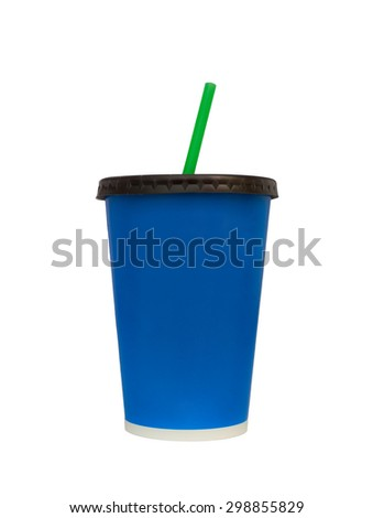 Fast food drinking cup, isolated, white background, Clipping paths - stock photo