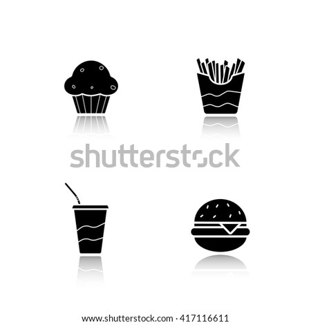Fast food drop shadow icons set. Burger and french fries, soda drink with straw and muffin. Unhealthy fat eating. Fast-food restaurant menu items. Cast shadow logo concepts. Raster black illustrations