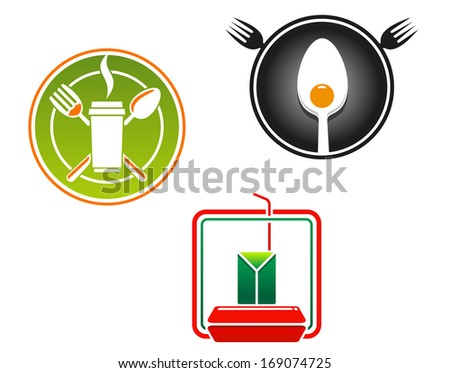 Fast food emblems and symbols for restaurant or junk food concept design or logo idea. Vector version also available in gallery - stock photo