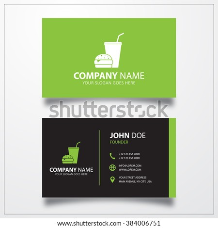 Fast food icon. Business card template - stock photo