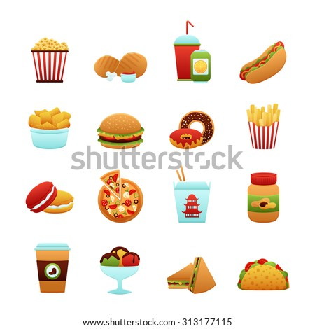 Fast food icon set with donut soda potato chips pizza isolated  illustration