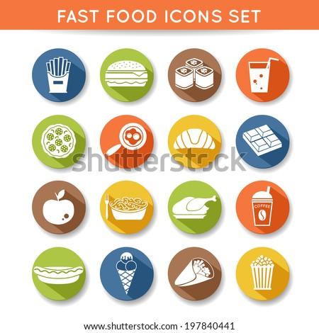 Fast food icons flat set of pizza chocolate apple spaghetti isolated  illustration - stock photo