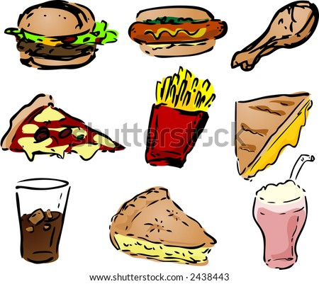 Fast food icons, hand-drawn look: - stock photo