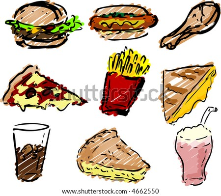 Fast food icons, hand-drawn look: hamburger, hotdog, fried chicken, pizza, fries, grilled cheese sandwich, coke, pie, shake rough sketchy coloring