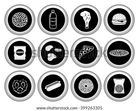 Fast Food & Junkfood  Icons Silver Icon Set. Raster Version - stock photo