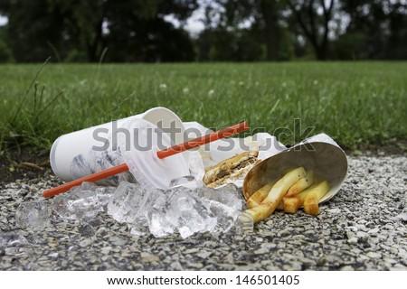 Fast food litter, horizontal - stock photo
