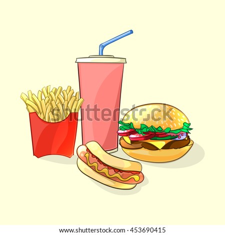 Fast food meal in cartoon style. Beverage cup with burger, french fries and hot dog. Illustration