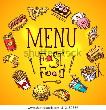 Fast food menu concept with colored sketch soda sandwich and chicken decorative icons  illustration - stock photo
