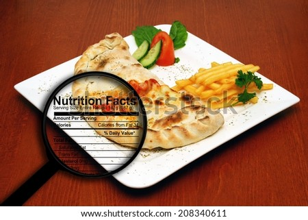 Fast food nutrition facts - stock photo