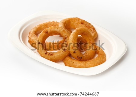 Fast Food Onion Rings on white background - stock photo
