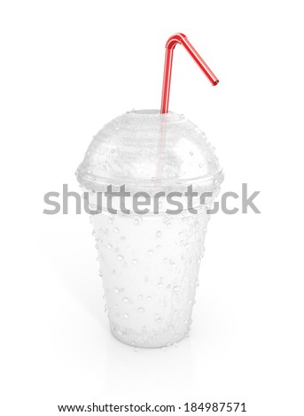 fast food paper cup with red tube and water drops. 3d illustration - stock photo