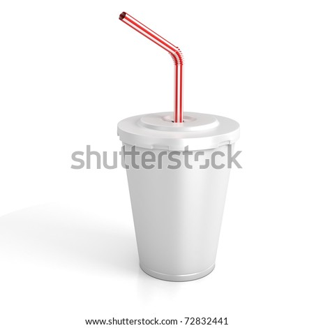 fast food paper cup with red tube - customize by inserting your own text on the copy space - stock photo