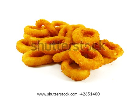 Fast Food Popular Side Dish of Onion Rings on White Background - stock photo