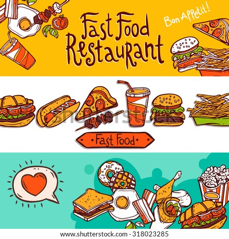Fast food restaurant colored hand drawn horizontal banners set isolated  illustration