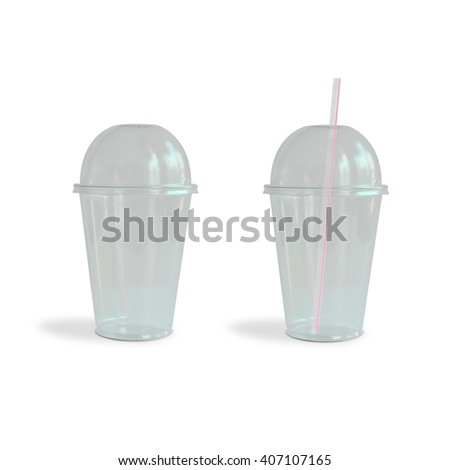 Fast food transparent drinking cups isolated on white background - stock photo