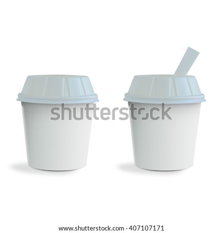 Fast food white drinking cups isolated on white background - stock photo