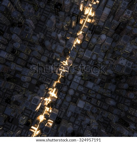 Fast lane city / 3D render of light streaking through night time city - stock photo