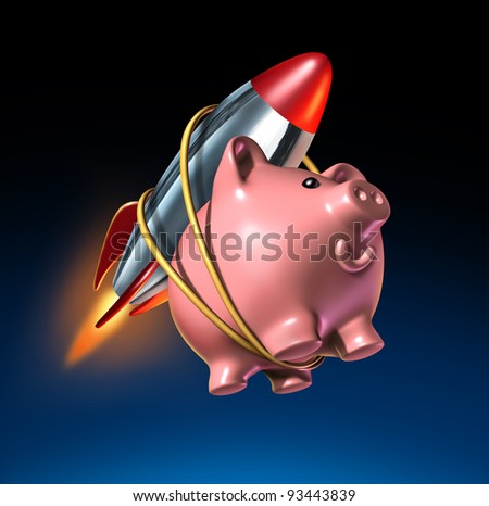 Fast money and higher savings account piggy bank with an attached rocket as rising interest rate and financial success with quick investment growth on a black background.