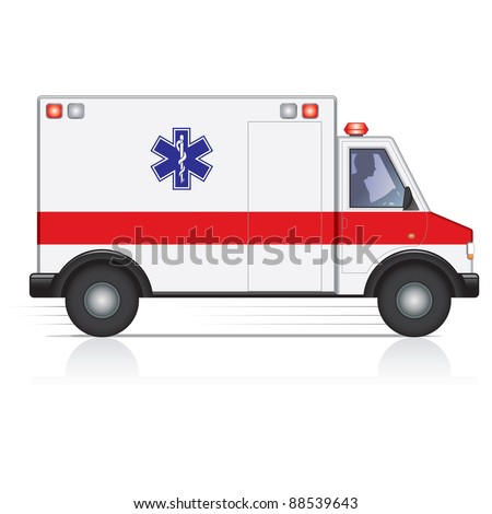 Fast moving ambulance with a male driver silhouette