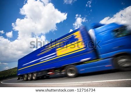 fast moving blue truck, motion blur. 16mpix - stock photo