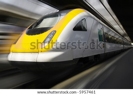 Fast Moving Passenger Train - stock photo