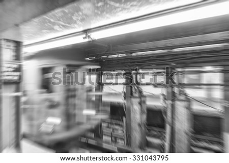 Fast moving subway train in New York subway. - stock photo