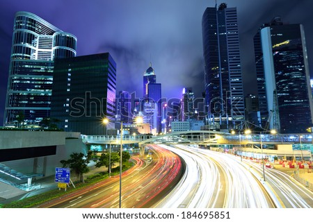 Fast moving traffic in Hong Kong