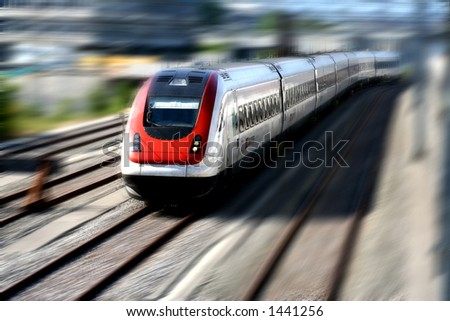Fast moving train. Motion blur.