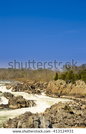 Fast river current. Nature energy. River energy. Rocks and river - stock photo