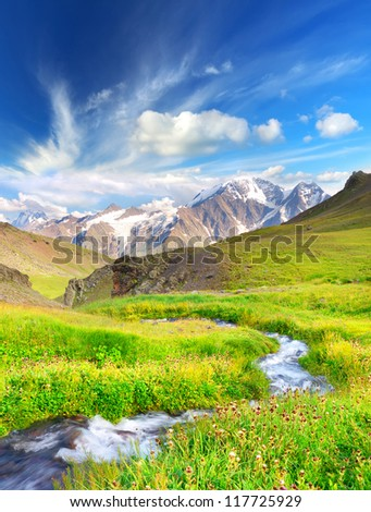 Fast river on green meadow. Large mountain valley. - stock photo