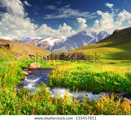 Fast river on the mountain meadow. Beautiful landscape - stock photo
