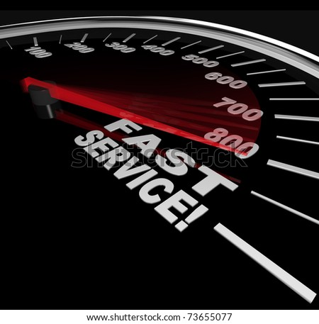 Fast Service words on a speedometer, symbolizing speedy customer support in a business - stock photo