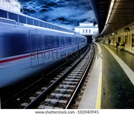 fast train - stock photo