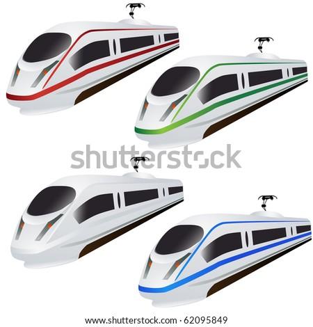 Fast train set isolated on white - stock photo