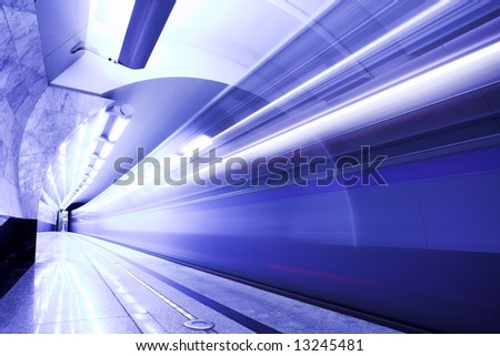 Fast train subway hall platform
