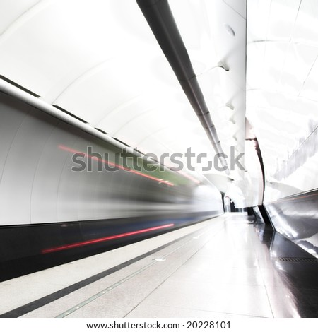 Fast train subway hall platform - stock photo