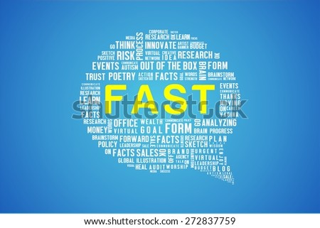 FAST word on speech bubble in blue background - stock photo