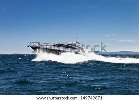 Fast yacht - stock photo